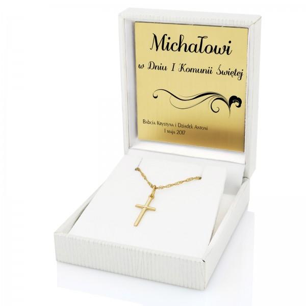 Złoty krzyżyk z łańcuszkiem w etui