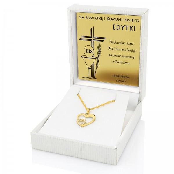 Złoty komplet biżuterii na komunię dla dziewczynki