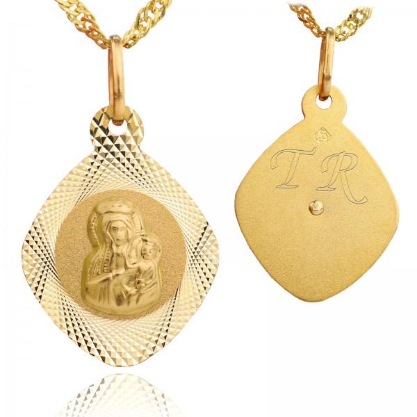 Komplet złotej biżuterii na prezent na komunię od chrzestnej