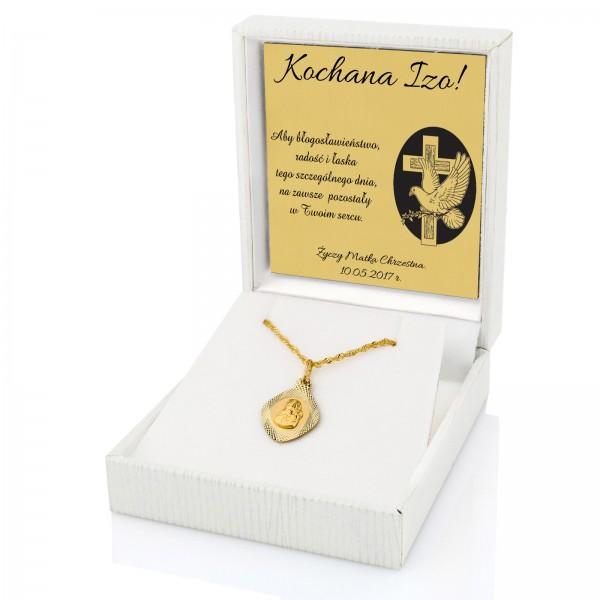 Komplet złotej biżuterii łańcuszek i medalik z Maryją