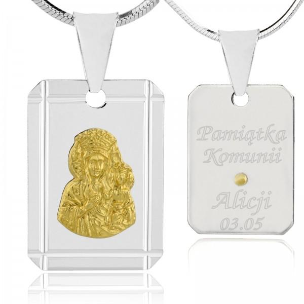 Biżuteria srebrna na komunię medalik z Matką Boską i grawerem