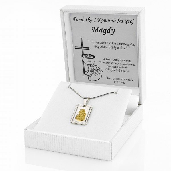 Biżuteria srebrna na komunię medalik i łańcuszek w etui