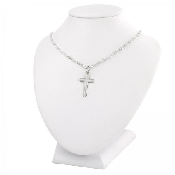 Komplet biżuterii srebrnej krzyżyk i łańcuszek