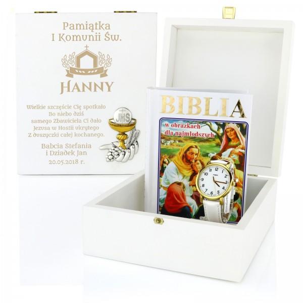 Zegarek na komunię i biblia dla dzieci w drewnianej szkatułce