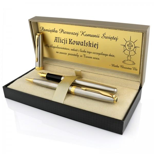 prezent na komunię dla dziewczynki pióro i długopis Parker