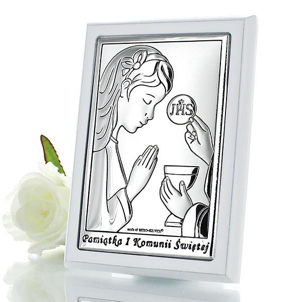pamiątka komunii dla dziewczynki posrebrzany obrazek z grawerem