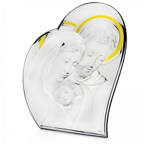 obraz świętej rodziny srebrny prezent na komunię dla dziewczynki