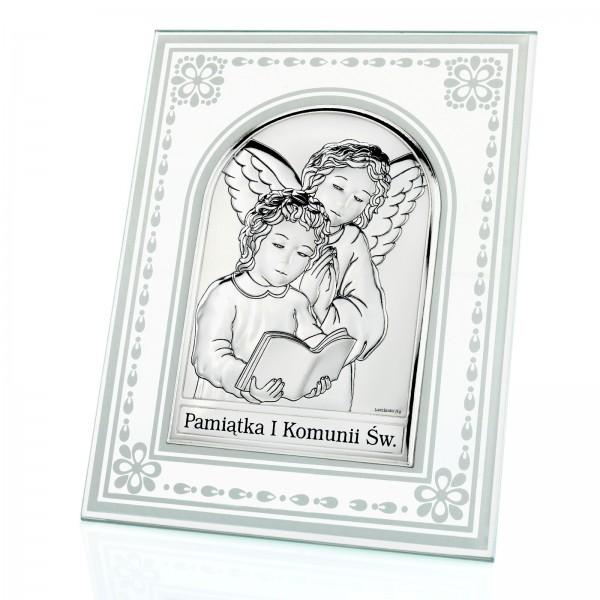 srebrne obrazki na komunię z grawerem anioł stróż w szkle