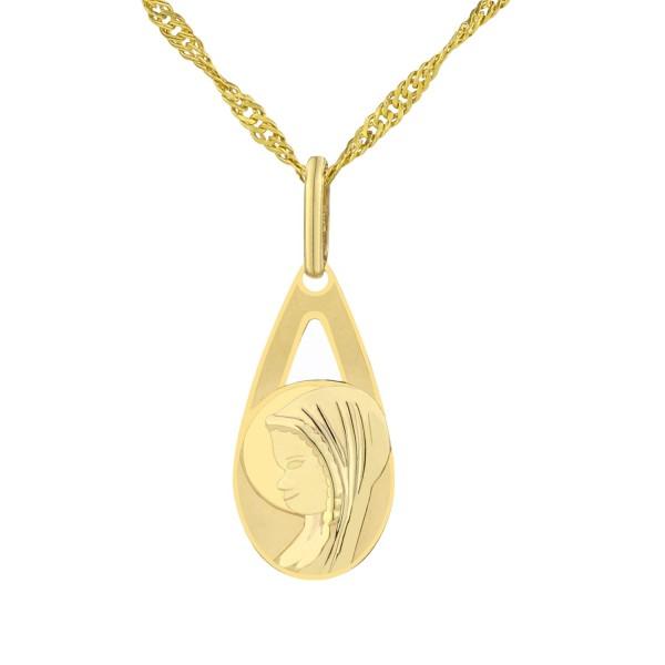 złoty komplet łańcuszek i medalik na prezent na komunię dla dziewczynki
