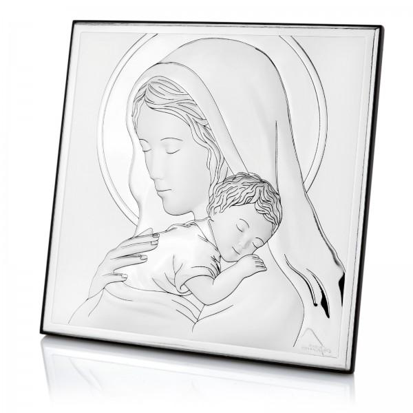 srebrny obraz matka boska z dzieciątkiem i grawerem na komunię