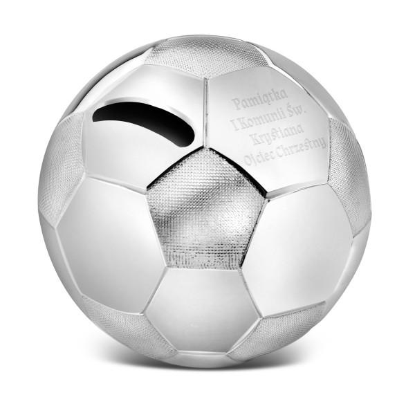 piłka nożna srebrna skarbonka z grawerem
