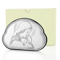 posrebrzany obrazek matka boska z dzieciątkiem na prezent