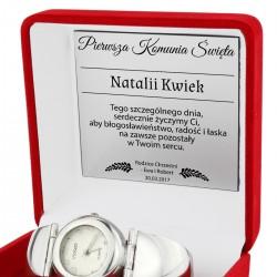 srebrny zegarek w etui z grawerem