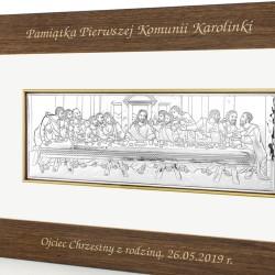 pamiątka komunijna obraz ostatnia wieczerza z dedykacją