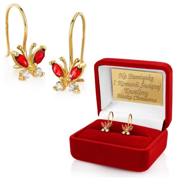 złote kolczyki na prezent na komunię dla dziewczynki