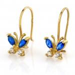 złote kolczyki z niebieskimi cyrkoniami