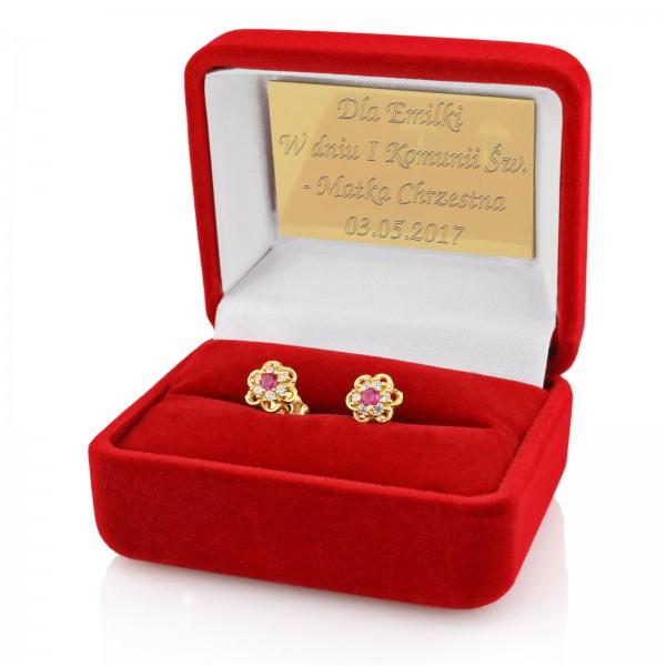 kolczyki złote pr. 585 na prezent dla dziewczynki