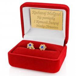 złote kolczyki dla dziewczynki na komunię w pudełku z grawerem