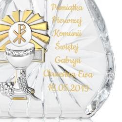 pamiątka komunijna kryształ z grawerem dedykacji