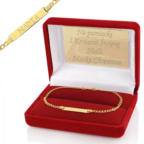 złota bransoletka z grawerem na I Komunię