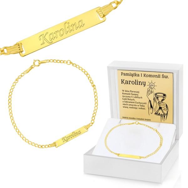 złota bransoletka na komunię w etui z dedykacją