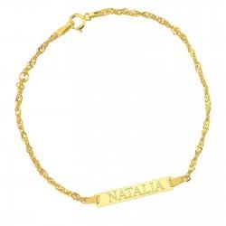 złota bransoletka z grawerem na prezent dla dziewczynki na chrzest