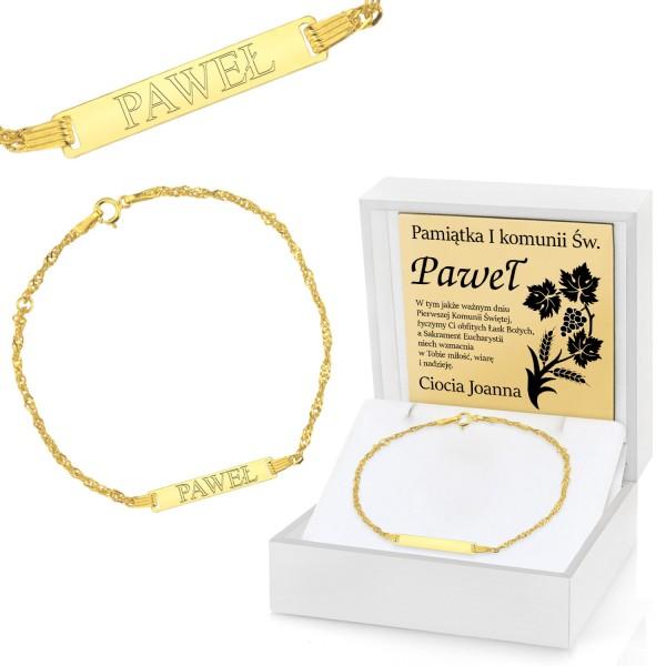 złota bransoletka pr. 585 w pudełku z grawerem na prezent na komunię