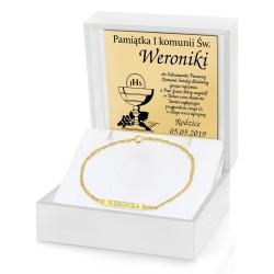 pamiątka komunijna bransoletka złota w pudełku z dedykacją