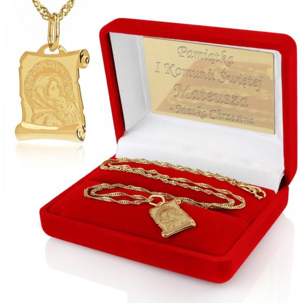 złoty medalik z grawerem na pamiątkę komunii