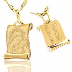 złote medalik z grawerem