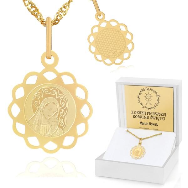 pamiątka komunii świętej złoty medalik w pudełku z dedkacją