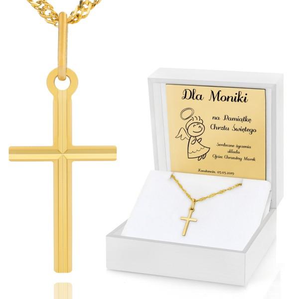 złoty krzyżyk na łańcuszku w etui z grawerem na prezent na chrzest święty
