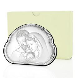 srebrny obraz świętej rodziny na upominek