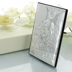 srebrny obrazek z Aniołem Stróżem