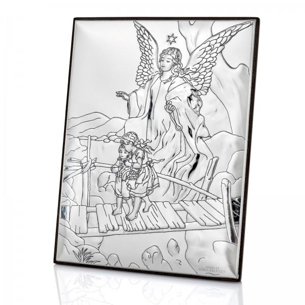 srebrny obrazek Anioł Stróż z grawerem