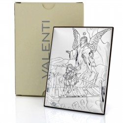 srebrny obrazek z Aniołem Stróżem na prezent