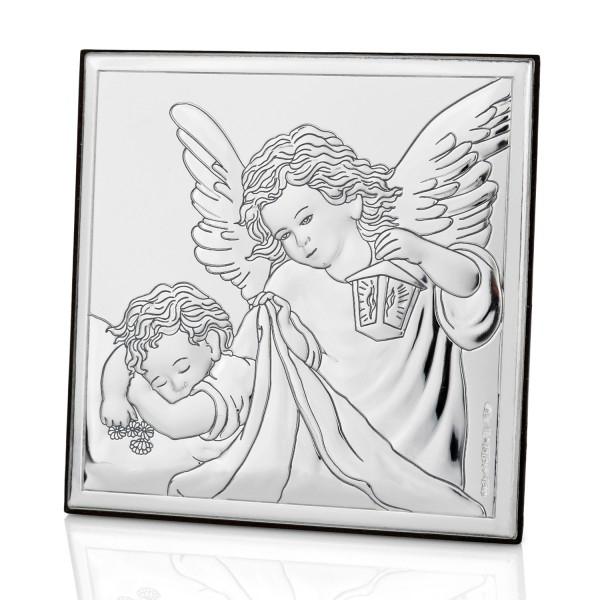 obrazek posrebrzany anioł stróż