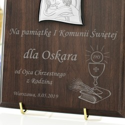 srebrny obrazek z grawerem na pamiątkę komunijną