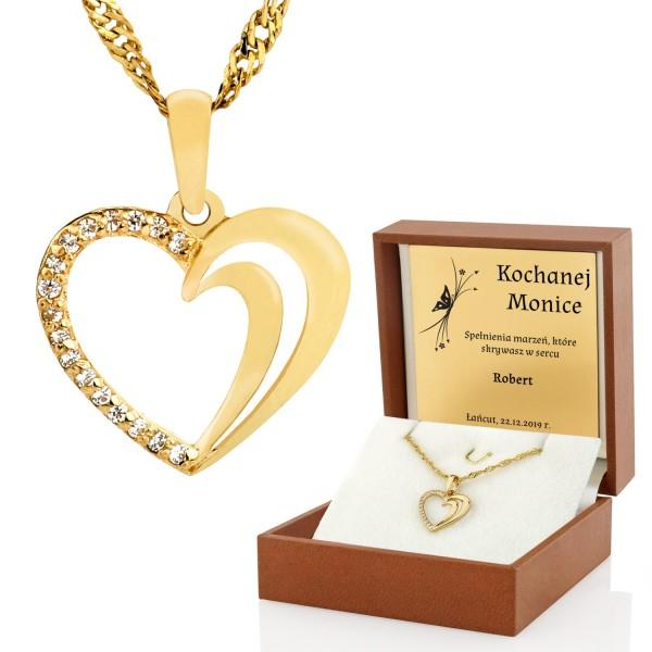złoty naszyjnik serce pr. 585 w etui z grawerem na prezent