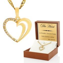 złoty łańcuszek z serduszkiem na prezent z okazji I komunii świętej