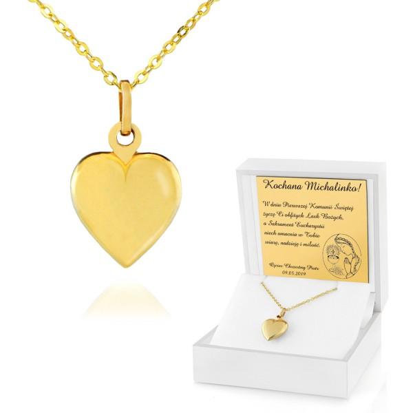 złote serce w pudełku z dedykacją na prezent na komunie