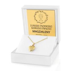 naszyjnik serce złote w pudełku na prezent na komunię dla dziewczynki