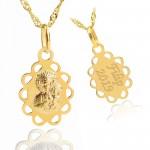 złoty łańcuszek z medalikiem na komunię