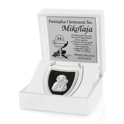 prezent z okazji komunii srebrny ryngraf w pudełku z dedykacją