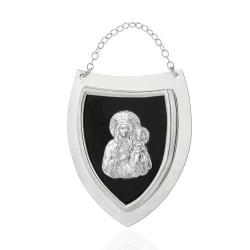 srebrny ryngraf z matką boską na prezent