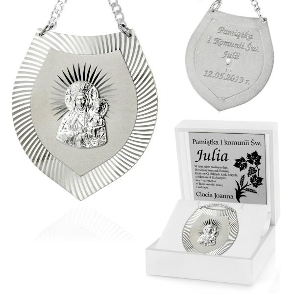 srebrny ryngraf z matką boską w pudełku z grawerem