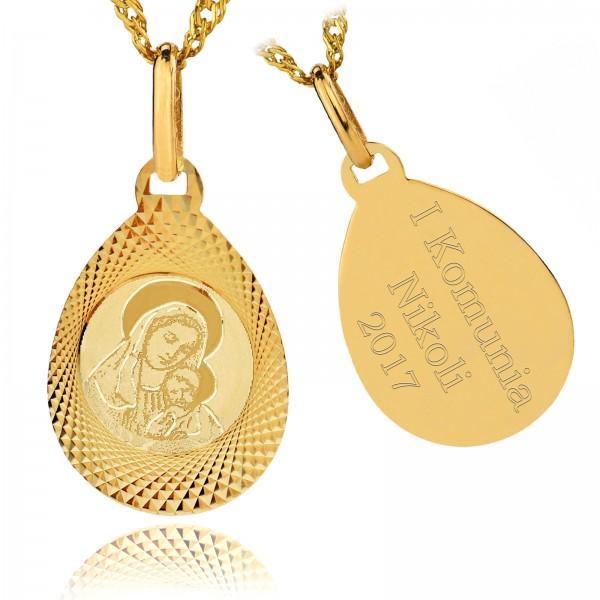 złoty medalik komunijny z grawerem