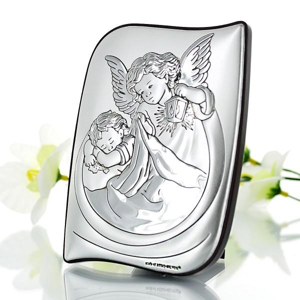 srebrny obrazek anioł stróż na prezent z okazji komunii