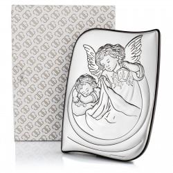 pamiątka komunijna srebrny obrazek anioł stróż
