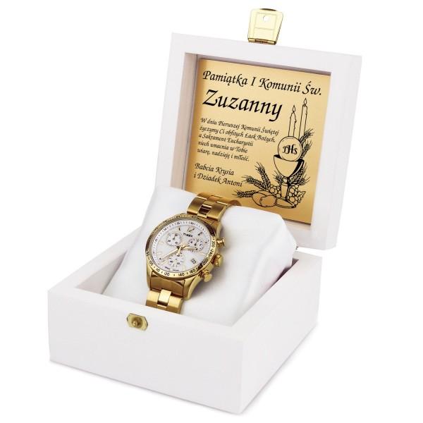 zegarek na komunię w drewnianym pudełku z grawerem